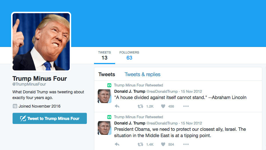 Trump Minus Four retweets what Trump said at this time four years ago