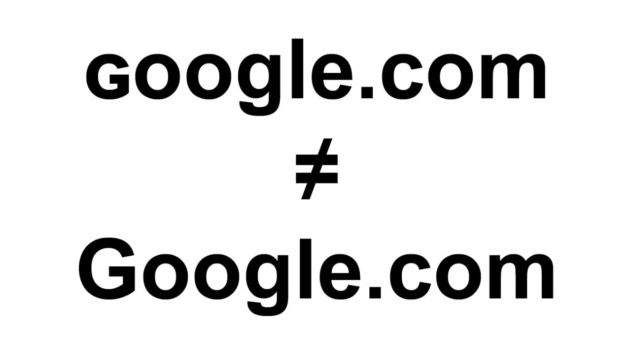 Watch out: ɢoogle.com isn't the same as Google.com