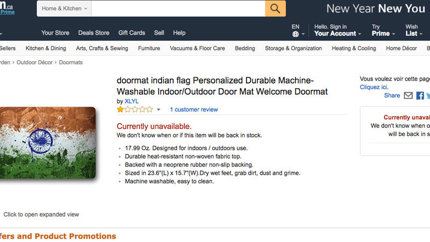 India slams Amazon over sale of national flag doormats