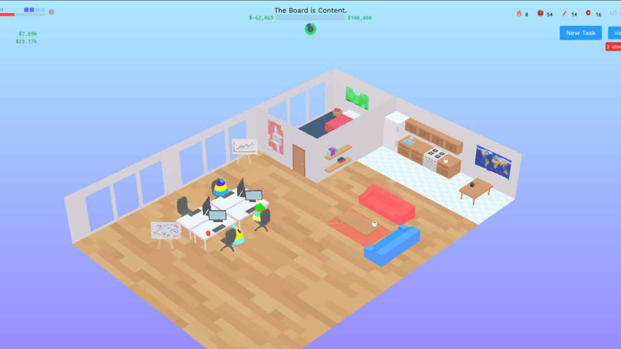 This browser game takes you through the madness of founding your own startup