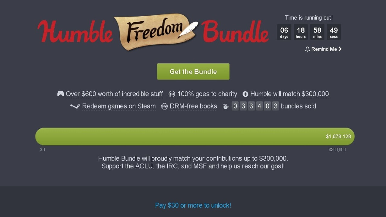 Humble Bundle raises over $1M for charity with latest sale