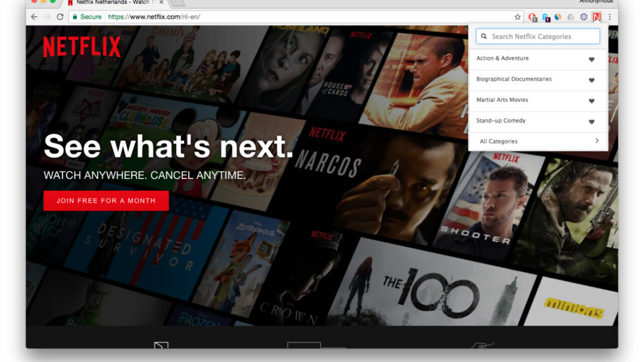 This Netflix extension for Chrome is your shortcut to a ton of hidden categories