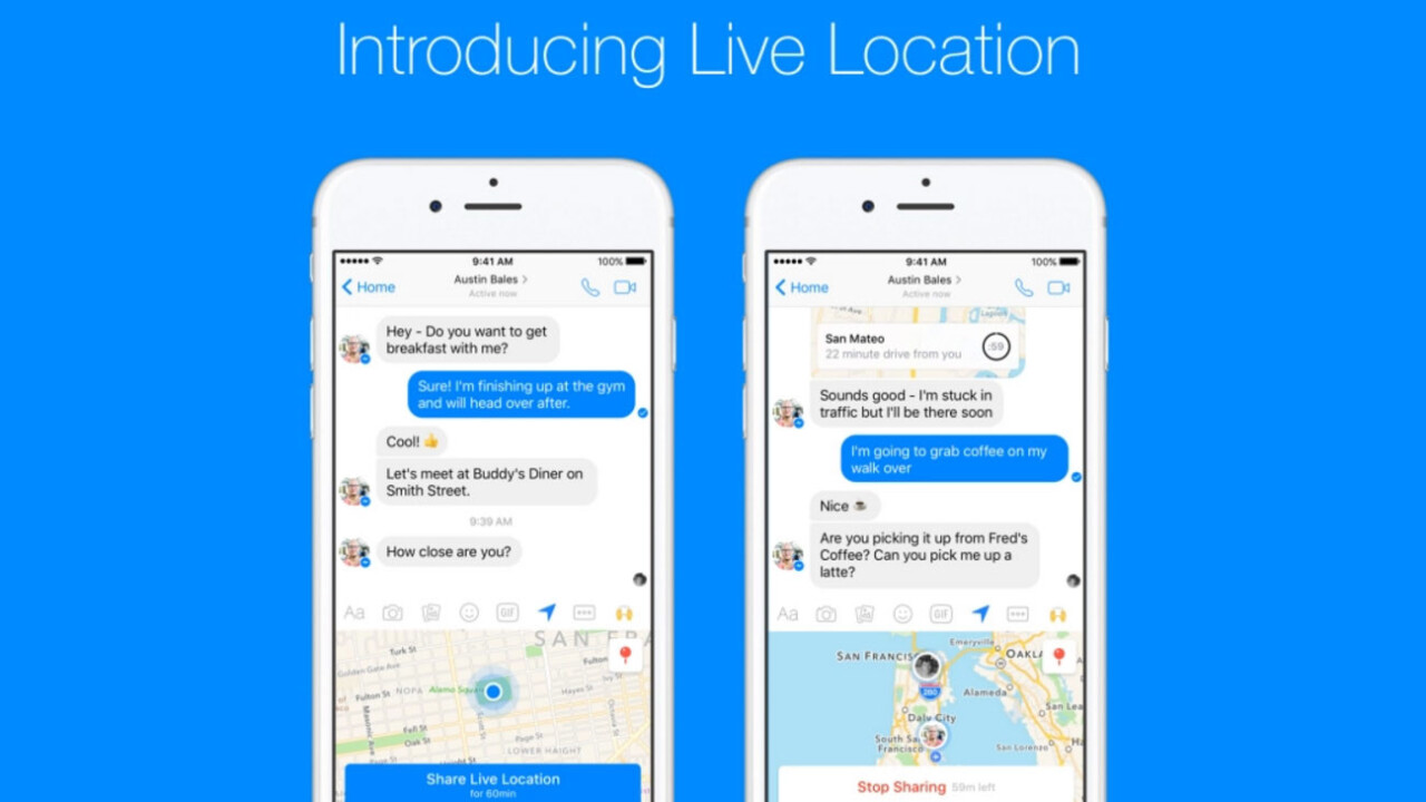 """Facebook Messenger now lets you prove you're """"OMW!"""" in real-time"""