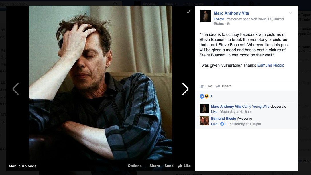 The Steve Buscemi Challenge refuses to die on Facebook