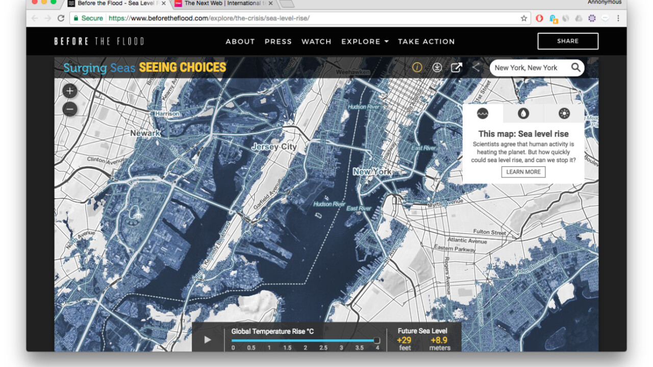 Scary interactive map shows how water levels will rise due to global warming