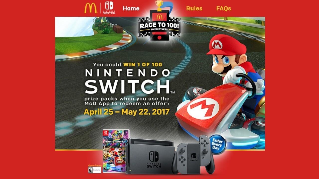 McDonald's is giving away the elusive Nintendo Switch