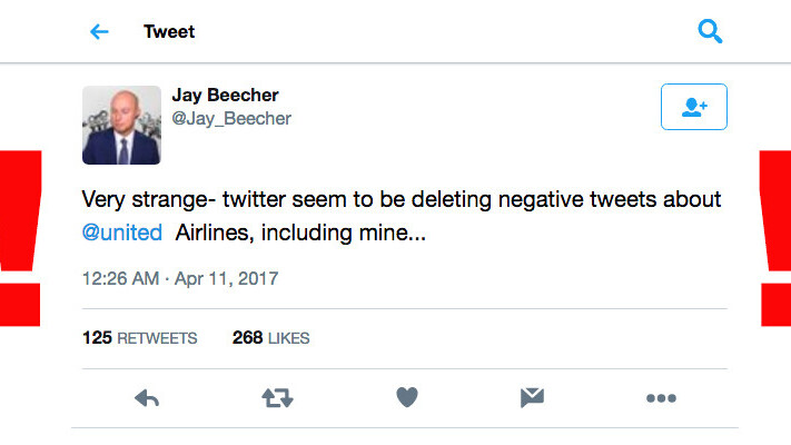 Twitter allegedly deleting negative tweets about United Airlines' passenger abuse
