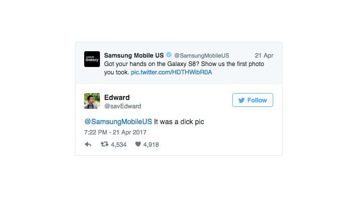 Samsung obliterates Twitter troll's dick pic joke with one savage emoji