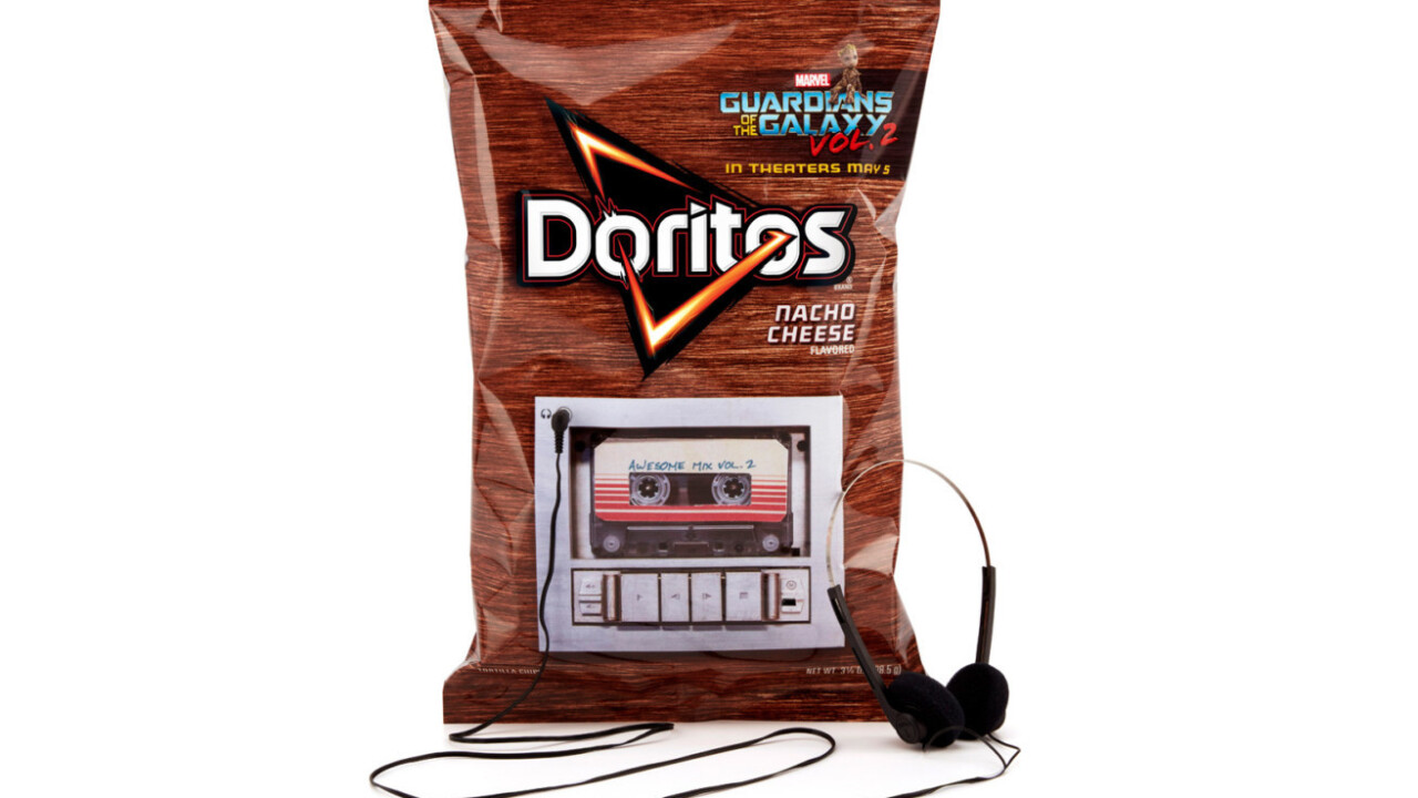 This Doritos bag has a built-in cassette tape player