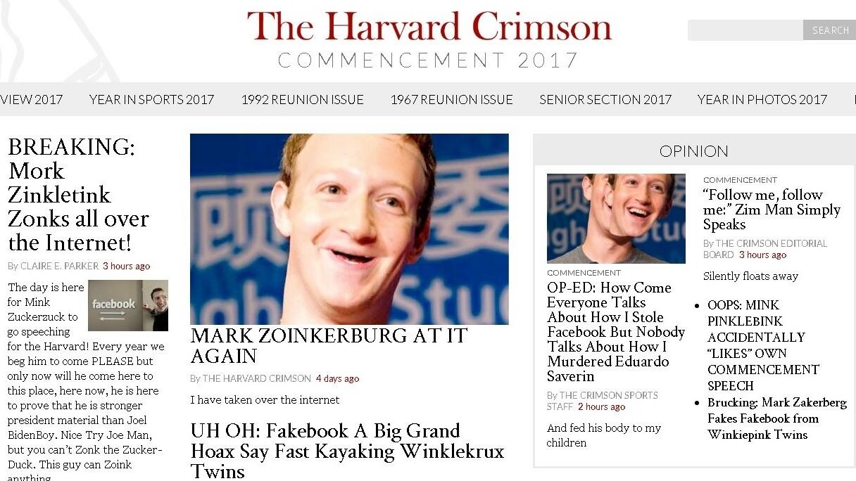 Hacker trolls Zuckerberg commencement speech by defacing Harvard newspaper