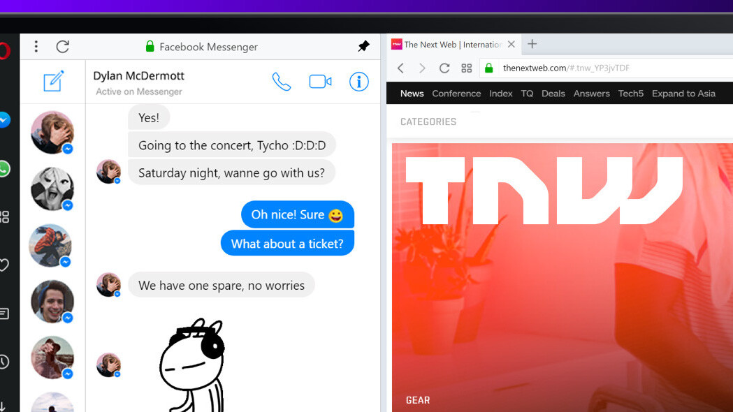 Opera bakes Messenger, WhatsApp and Telegram chat right into your browser