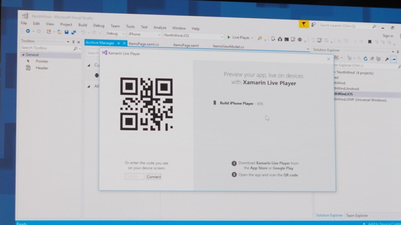 Xamarin Live Player makes debugging mobile apps as easy as scanning a QR code