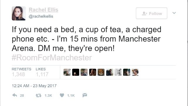 Manchester opens doors to those stranded by the Arena explosion with #RoomForManchester
