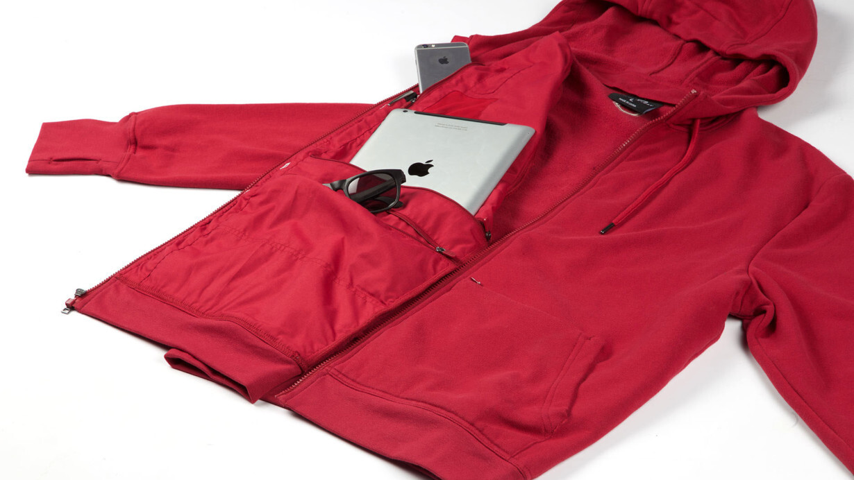 The SCOTTeVEST is a bonkers 19-pocket hoodie that can hold two iPads and charge your phone
