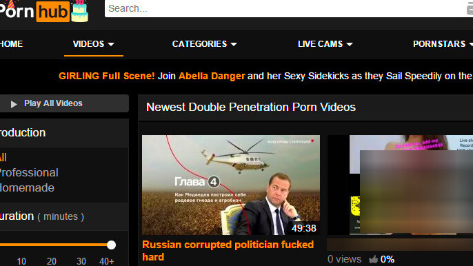 PornHub penetrates political discourse with banned corruption documentary