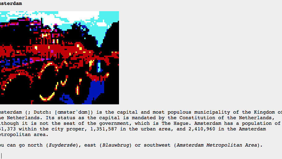 This website turns Wikipedia into a beautiful pixel art text adventure