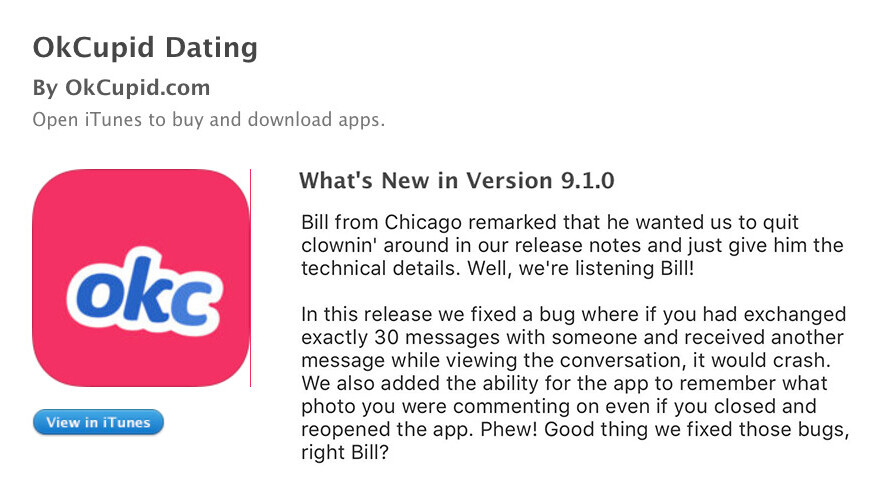 Bored OkCupid devs are trolling one whiny user with shitty release notes