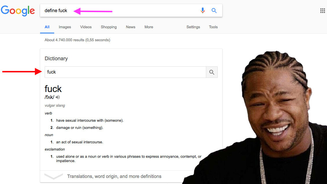 Google goes meta, adds search function to the dictionary box in Search