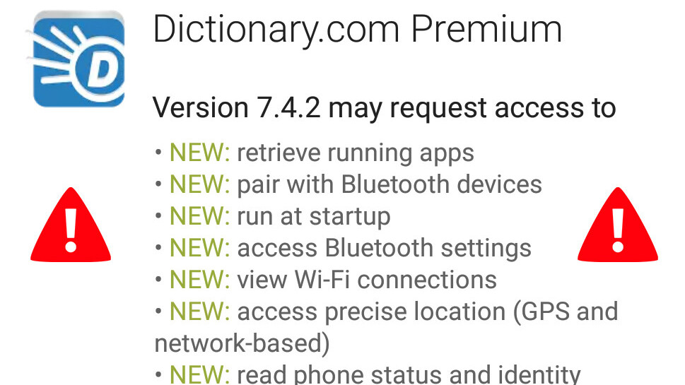 Dictionary.com discreetly updates app permissions to spy on your phone