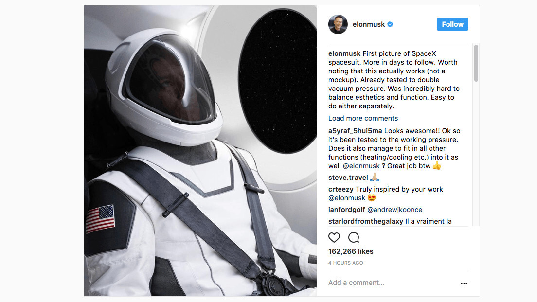 Tesla CEO Elon Musk gives us a first glimpse at the SpaceX spacesuit