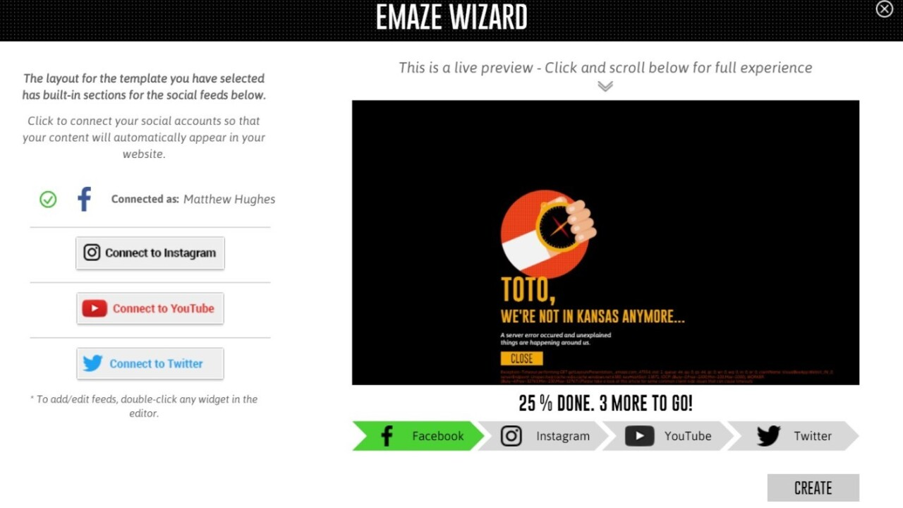 Emaze.me lets anyone create their own personal websites by importing their Facebook