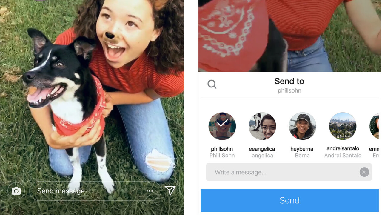 Instagram now lets you share Stories via Direct messages