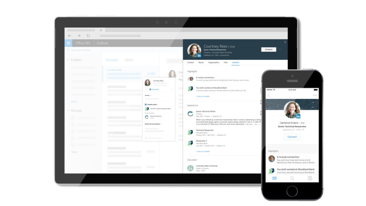 LinkedIn profiles are coming soon to your Microsoft work apps