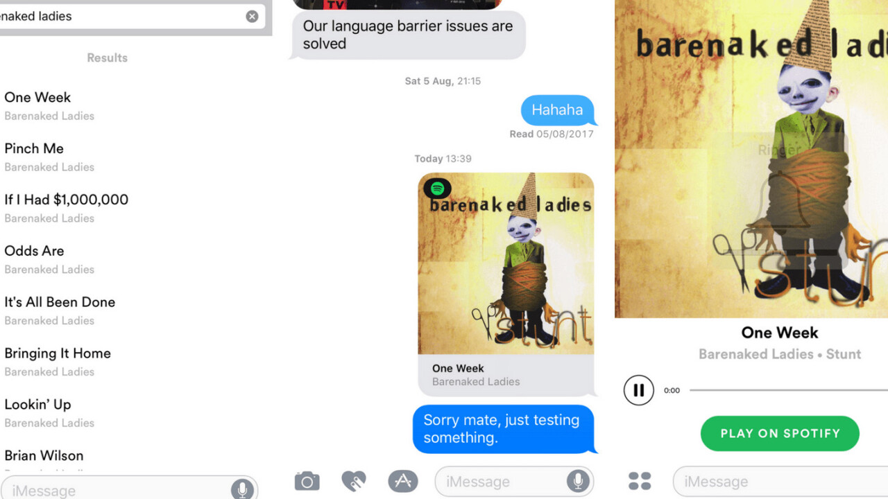 Spotify finally lands in the iMessage App Store