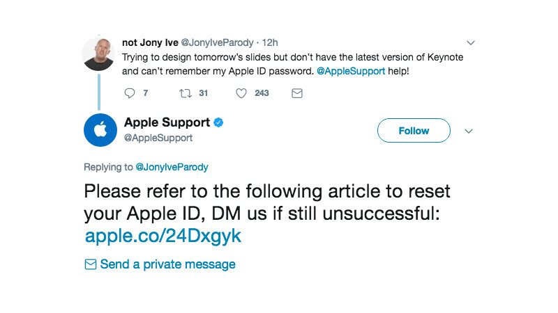 Apple Support gave the dumbest reply to a Jony Ive parody account