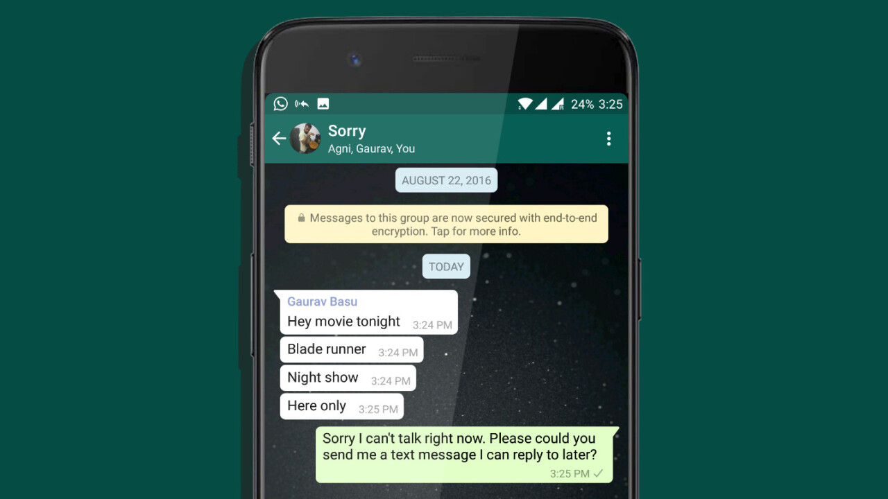 This Android app auto-replies to WhatsApp texts when you're busy