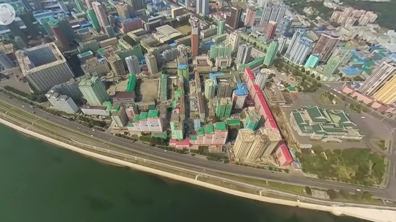 360 video shot over North Korea shows a sprawling, empty metropolis