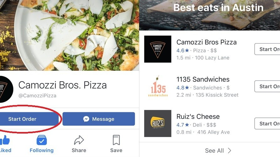 Facebook rolls out new juicy food delivery options in the US