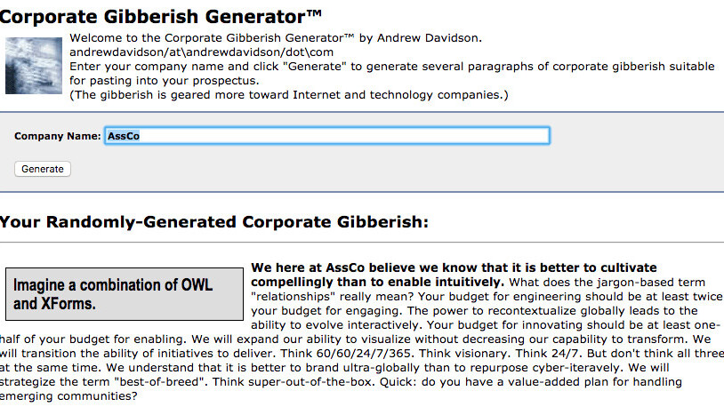 Corporate Gibberish Generator™ makes crappy slogans for your startup