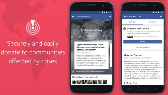 Facebook adds crisis donate button to help disaster victims