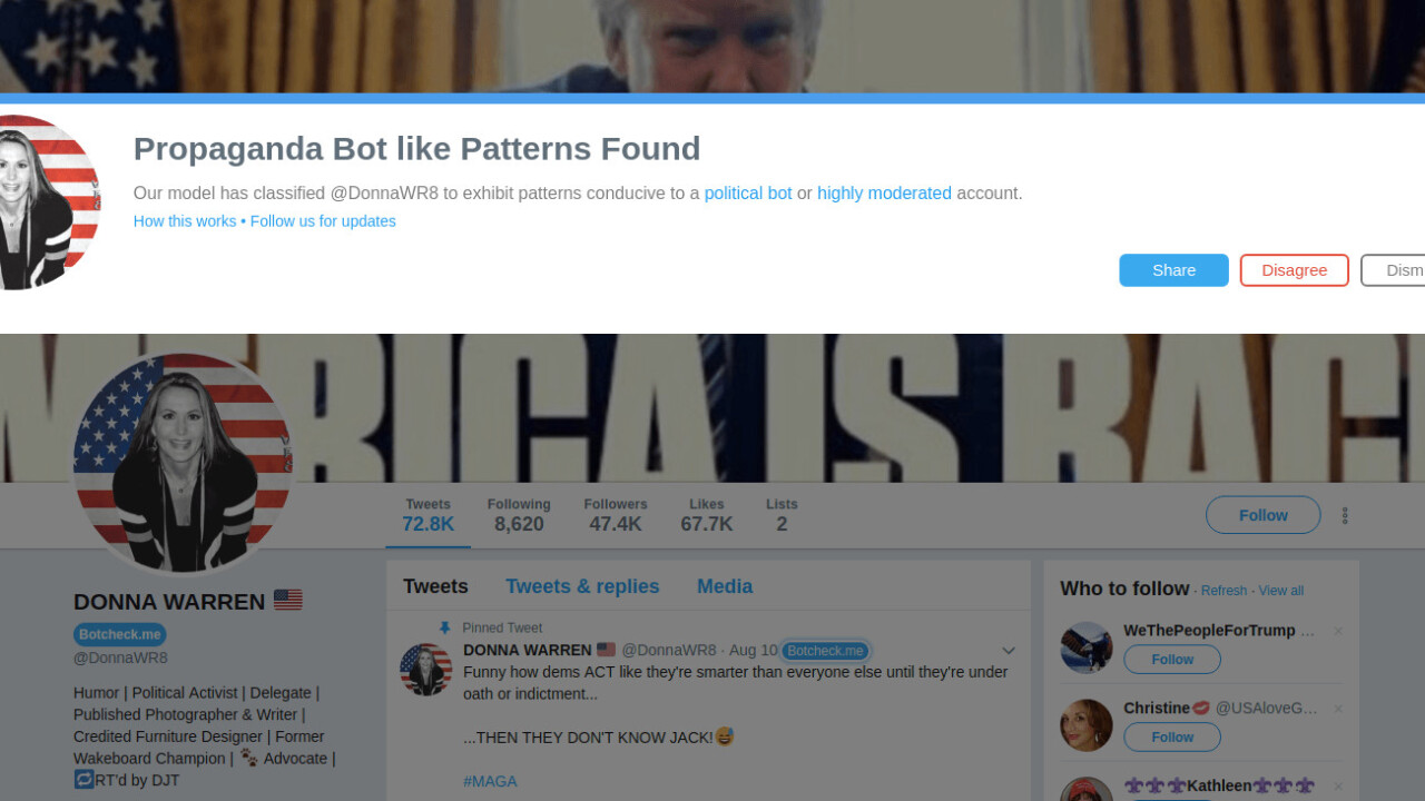 This Twitter tool tells you if you're arguing with a propaganda bot