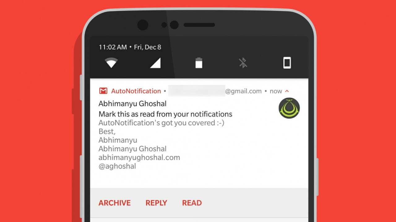 AutoNotification adds a much-needed 'Mark as Read' button to your Gmail alerts on Android