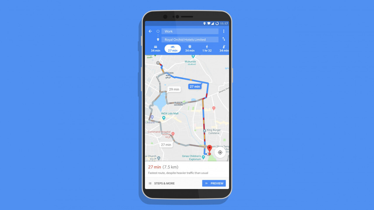 Google Maps' new two-wheeler mode shows faster routes for beating traffic on your bike