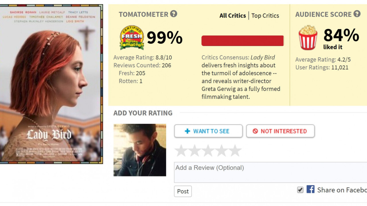 Film critic admits he purposefully lowered a perfect Rotten Tomatoes score