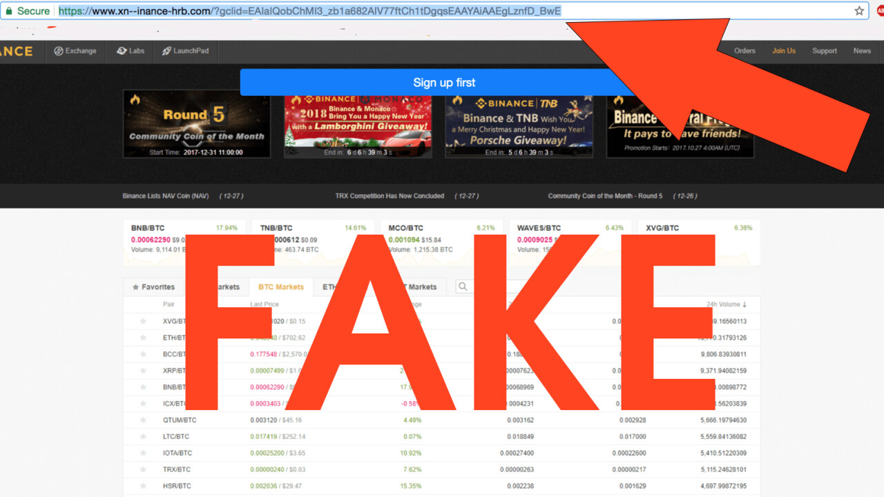 Cryptocurrency scammers tricking users with fake Binance links on Google