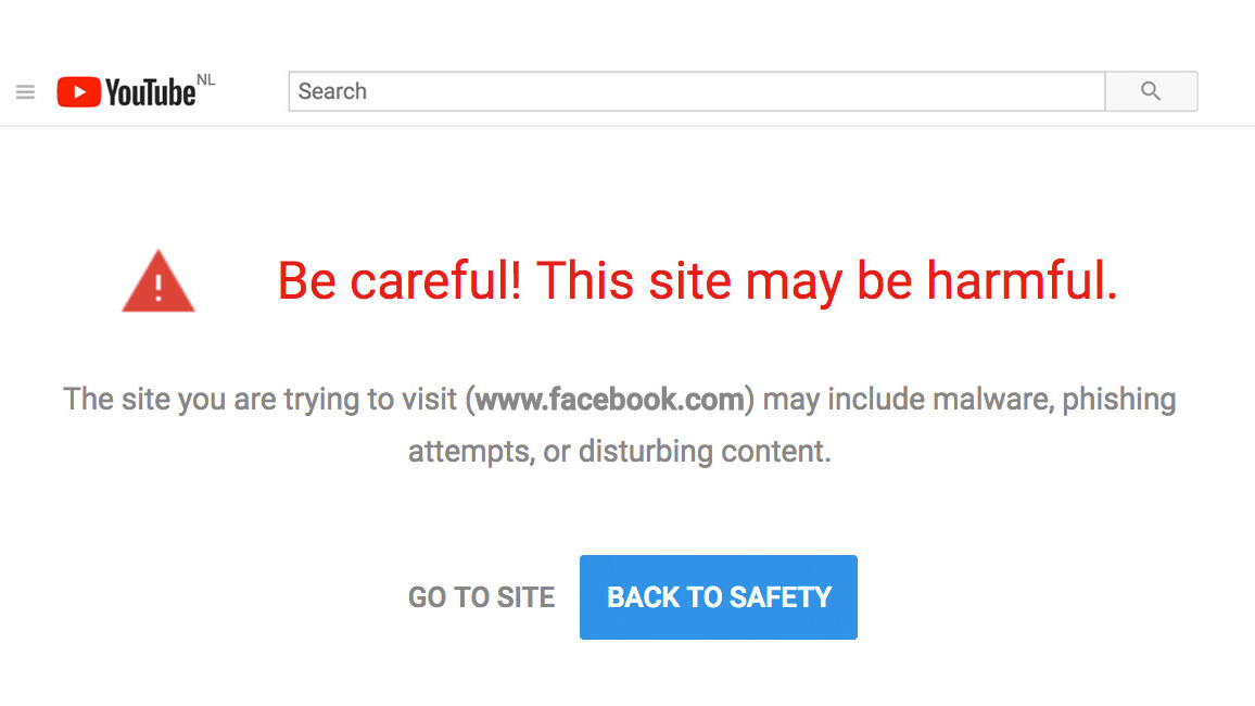YouTube marks Facebook and White House links as phishing attacks