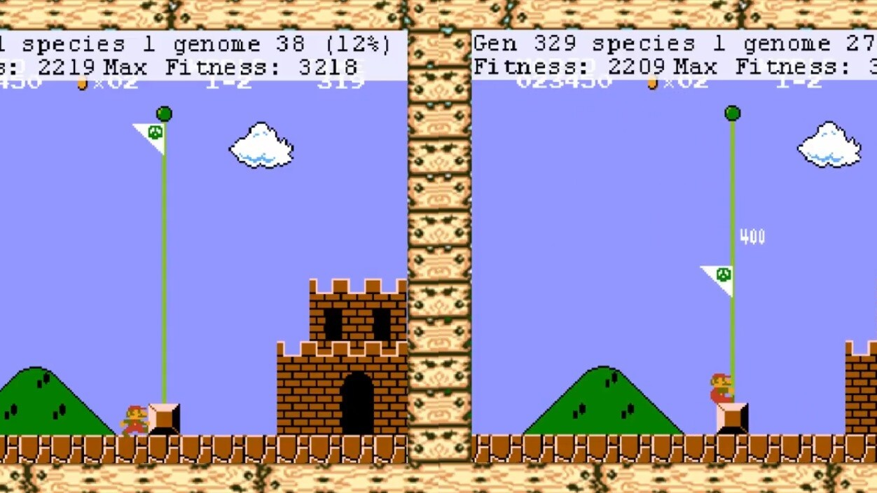 This livestream of AI learning to play Super Mario Bros is awesome