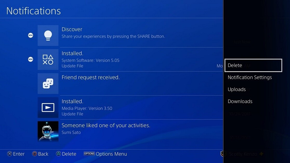 PlayStation 4 update finally lets you delete old notifications