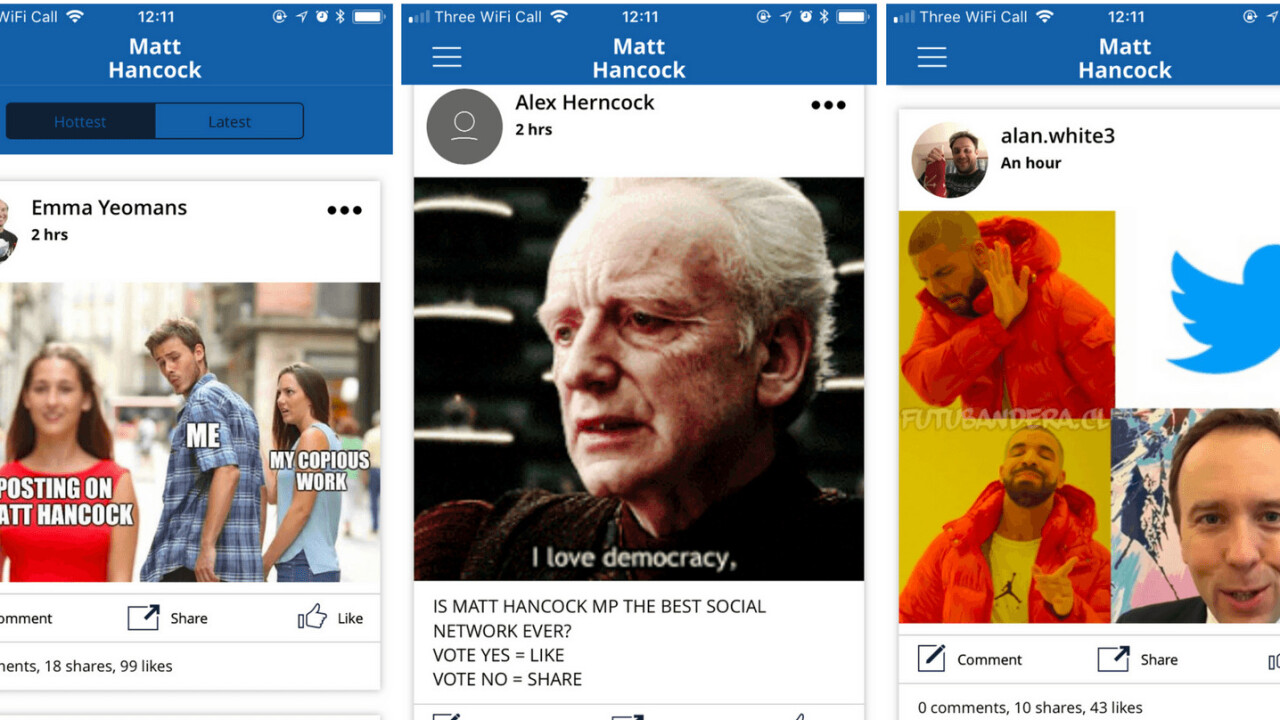 UK politician launches a supremely awkward social media app; trolling ensues
