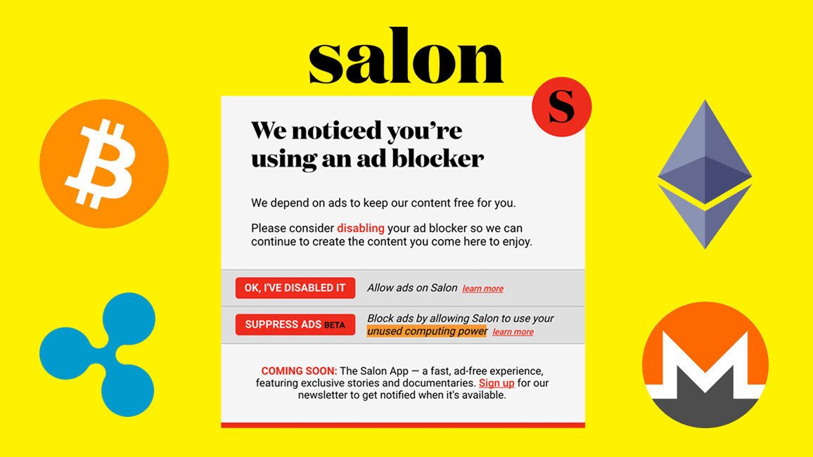 Salon is using adblocking readers' CPU power to mine cryptocurrency