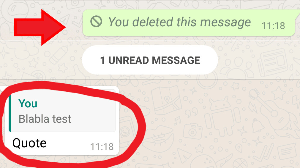 PSA: You can't remove WhatsApp messages once they've been quoted