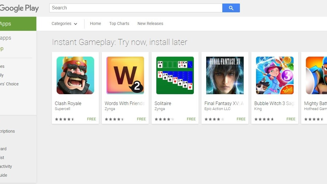 Google Play now lets you try some games without downloading or installing