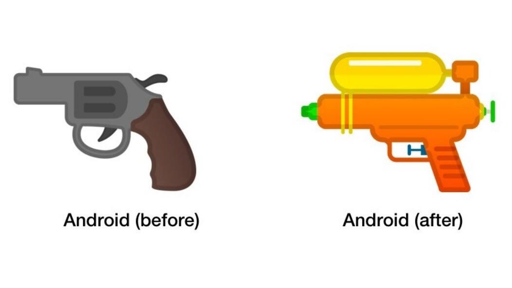 Google swaps revolver for water gun in its emoji armory