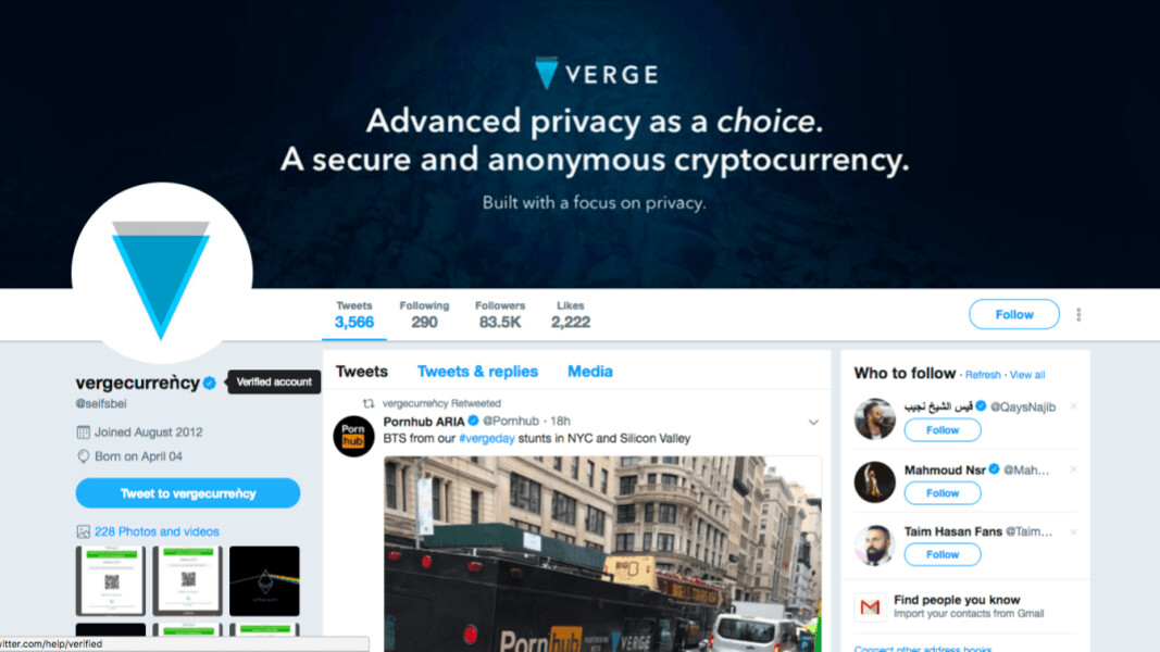 Verge coin's own Twitter account is not verified but its imposter's is