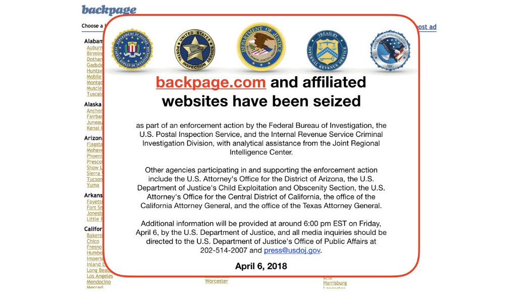 Seedy marketplace Backpage.com seized by US authorities