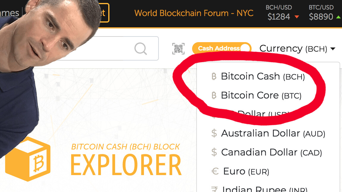 Roger Ver's Bitcoin.com no longer labels BCH as the real Bitcoin